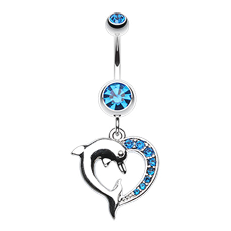 Indigo Blue Marine Lovers Dolphin Dangly Belly Ring