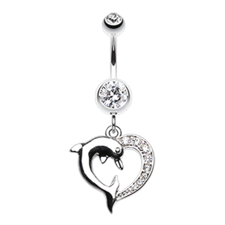Dangling Belly Ring. Cute Belly Rings. Marine Lovers Dolphin Dangly Belly Ring