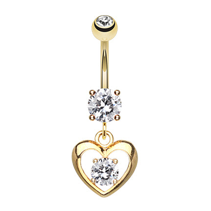 Classic Gold Heart Belly Bar - Dangling Belly Ring. Navel Rings Australia.