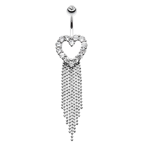 Dangling Belly Ring. Navel Rings Australia. Falling For You Heart Navel Piercing Bar