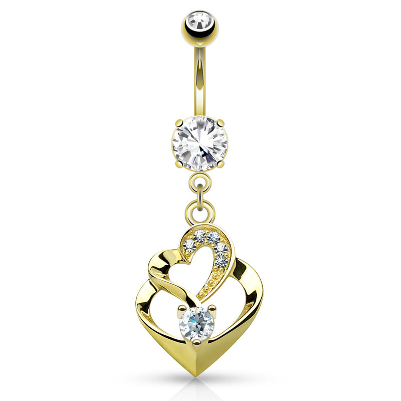 14k Gold Duo Heart Belly Bar - Dangling Belly Ring. Navel Rings Australia.