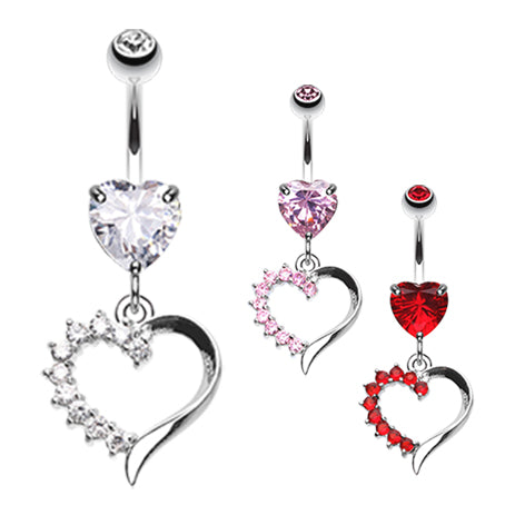 Jack n Sally's Heart Belly Bar - Dangling Belly Ring. Navel Rings Australia.