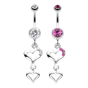 Kindred Spirits Heart Belly Ring - Dangling Belly Ring. Navel Rings Australia.