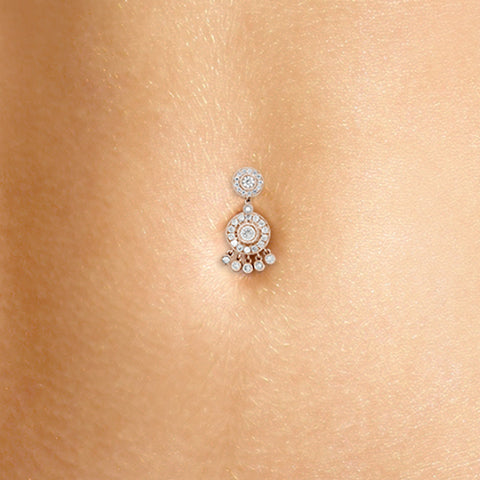 Authentic Maria Tash 18K Rose Gold Diamond Ice Pave Belly Ring with Dangle Accents - Fixed (non-dangle) Belly Bar. Navel Rings Australia.