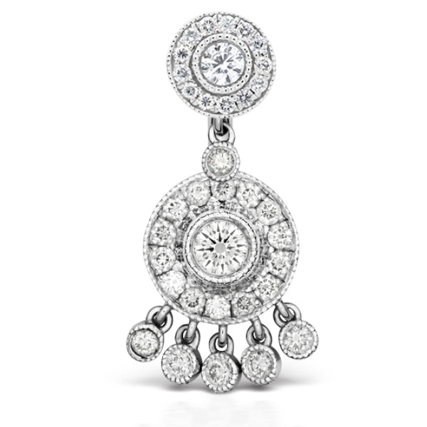 Authentic Maria Tash 18K White Gold Diamond Ice Pave Belly Ring with Dangle Accents. - Fixed (non-dangle) Belly Bar. Navel Rings Australia.
