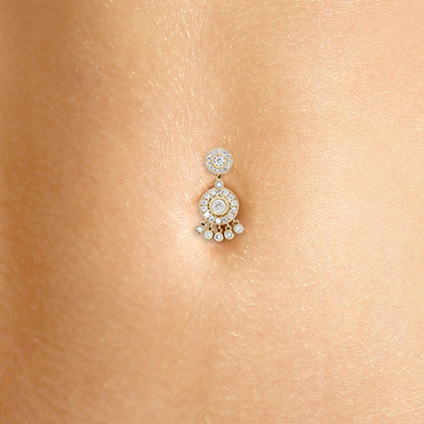 Authentic Maria Tash 14K Gold Diamond Ice Pave Belly Ring with Dangle Accents - Fixed (non-dangle) Belly Bar. Navel Rings Australia.