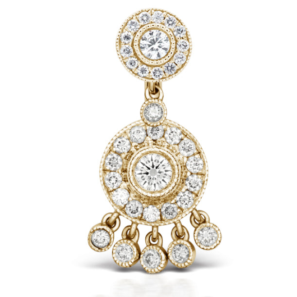 Authentic Maria Tash 18K Gold Diamond Ice Pave Belly Ring with Dangle Accents - Fixed (non-dangle) Belly Bar. Navel Rings Australia.