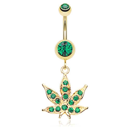 Dangling Belly Ring. Belly Rings Australia. Golden Cannibis Pot Leaf Belly Ring
