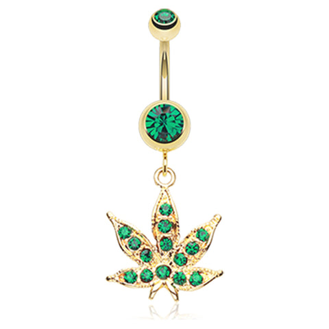 Emerald Golden Cannibis Pot Leaf Belly Ring