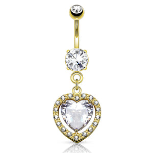 Heart Full of Love 14K Gold Belly Button Bar - Dangling Belly Ring. Navel Rings Australia.