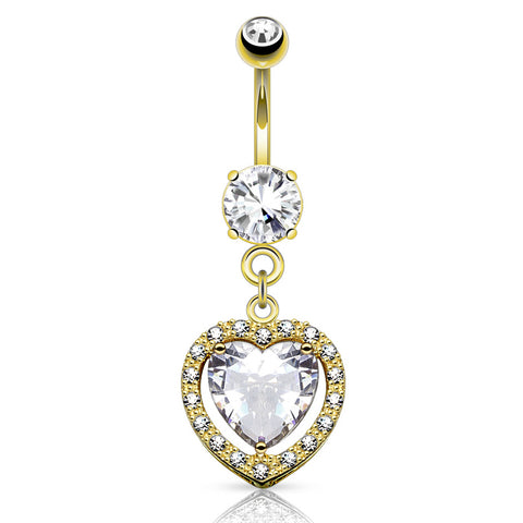 Dangling Belly Ring. Navel Rings Australia. Heart Full of Love 14K Gold Belly Button Bar