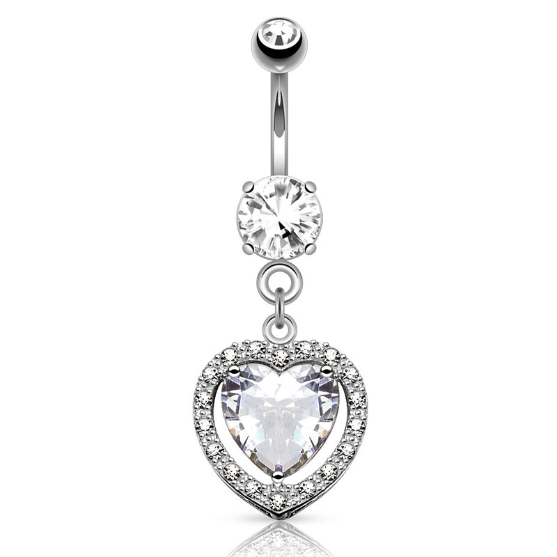 Heart Full of Love White Gold Belly Button Ring - Dangling Belly Ring. Navel Rings Australia.
