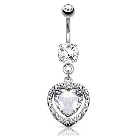 Dangling Belly Ring. High End Belly Rings. Heart Full of Love White Gold Belly Button Ring