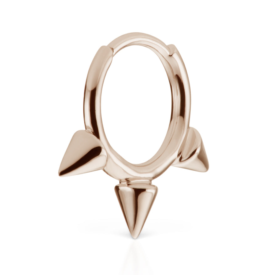 Triple Spike Non-Rotating Earring by Maria Tash in Rose Gold - Earring. Navel Rings Australia.