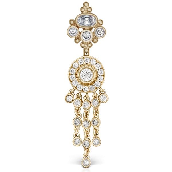 Maria Tash Full Diamond MT Crown Over a Pave Set Chandelier in 18K Yellow Gold - Dangling Belly Ring. Navel Rings Australia.