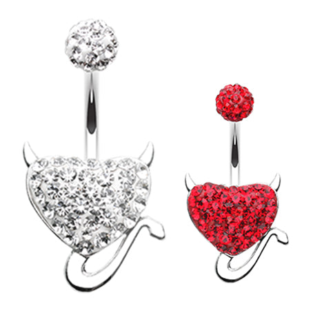 Fixed (non-dangle) Belly Bar. Shop Belly Rings. Motley's Devil Heart Belly Ring