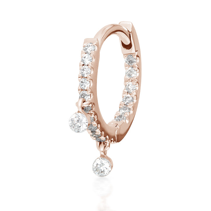 Diamond Eternity Earring with Two Dangles by Maria Tash in Rose Gold - Earring. Navel Rings Australia.