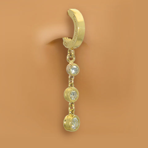 TummyToys® 14K Yellow Gold Diamond Journey Belly Piercing - TummyToys® Patented Clasp. Navel Rings Australia.