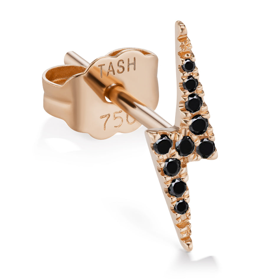 Earring. Quality Belly Bars. Genuine Lightning Bolt Diamond Earring by Maria Tash in 14K Rose Gold. Butterfly Stud.