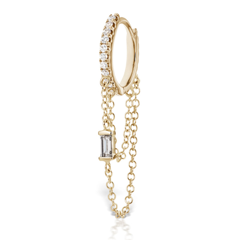 Diamond Eternity Baguette Duo Chain Earring by Maria Tash in 18K Gold - Earring. Navel Rings Australia.