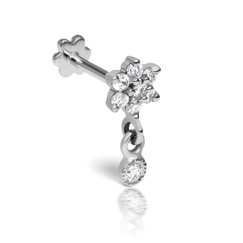 Dangly Diamond Flower Earring by Maria Tash in 14K White Gold. Flat Stud. - Earring. Navel Rings Australia.