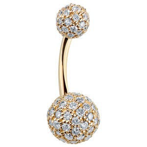 Authentic Diamond Pave 14k Yellow Gold Belly Bar - Basic Curved Barbell. Navel Rings Australia.