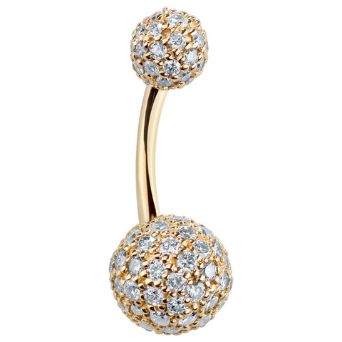 Basic Curved Barbell. Shop Belly Rings. Authentic Diamond Pave 14k Yellow Gold Belly Bar