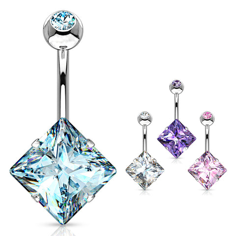 Fixed (non-dangle) Belly Bar. Shop Belly Rings. Diamanté Solitaire Belly Ring