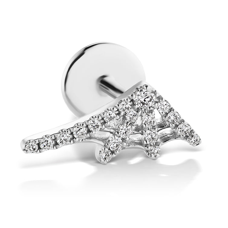 Authentic Diamond Web Earring by Maria Tash in 14K White Gold. Flat Stud. - Earring. Navel Rings Australia.