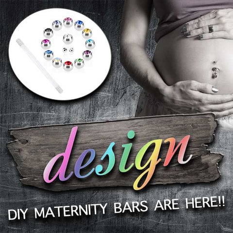 Amethyst Black Flex Maternity Belly Button Bar