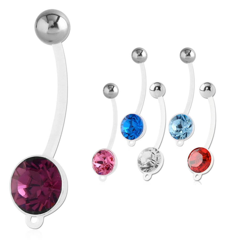 Clear BioFlex DIY Add Your Charm Pregnancy Belly Rings - Maternity Belly Ring. Navel Rings Australia.