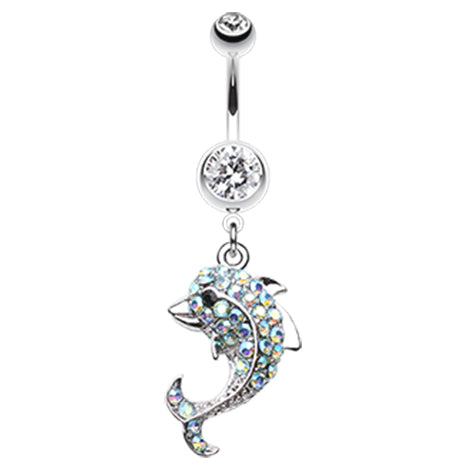 NAVEL BELLY BAR Crystal Dolphin Navel Belly Bar BLUE PINK GREEN