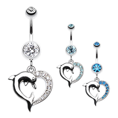 Marine Lovers Dolphin Dangly Belly Ring - Dangling Belly Ring. Navel Rings Australia.