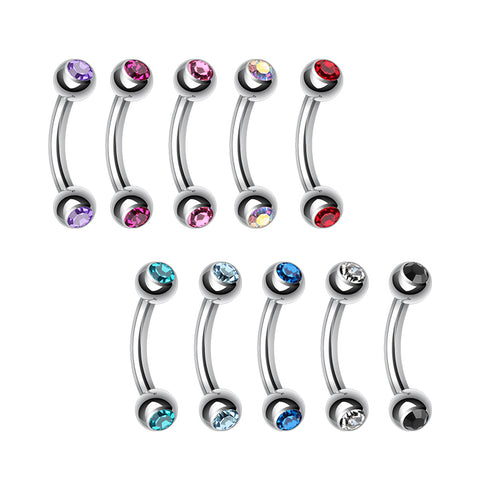 Basic Curved Barbell. Quality Belly Bars. Double Mini Gem Bananabell Body Jewellery