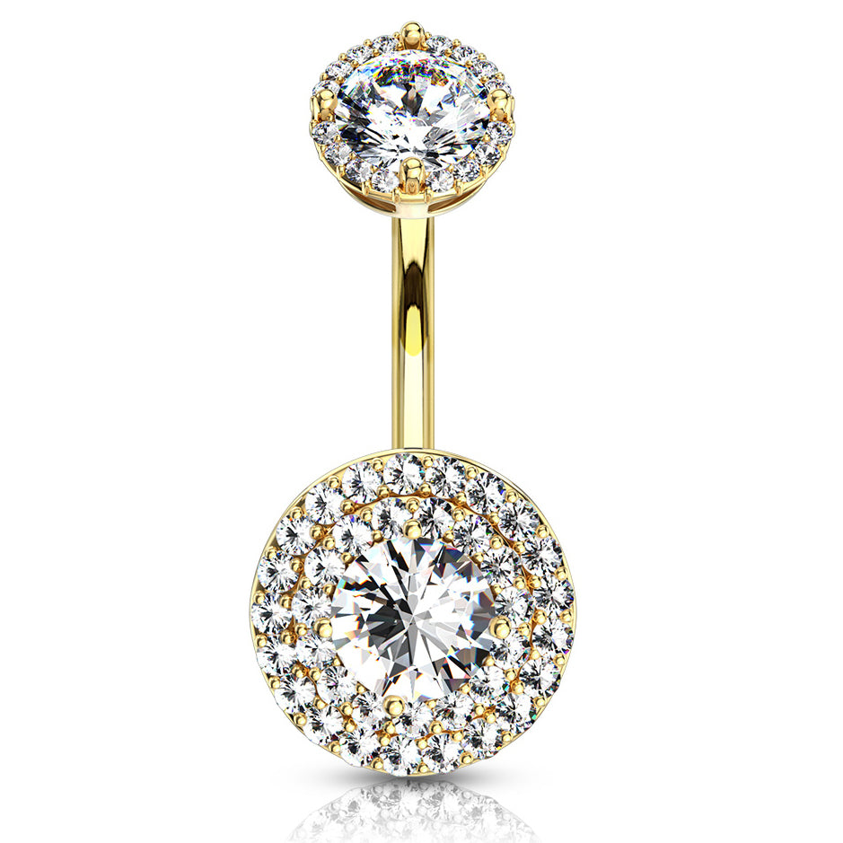 Crowned Jojo Halo Belly Bar in Gold - Fixed (non-dangle) Belly Bar. Navel Rings Australia.