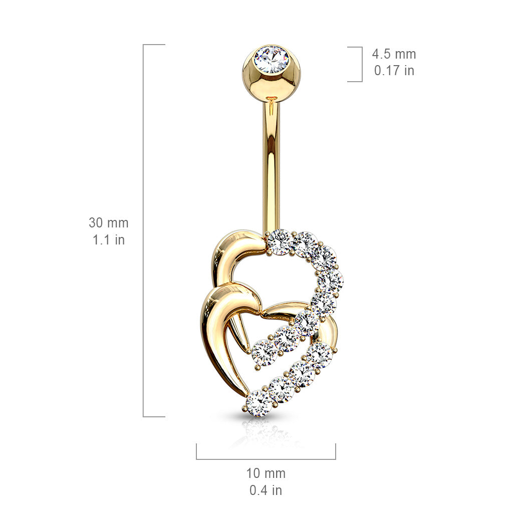 Fixed (non-dangle) Belly Bar. Belly Rings Australia. Juno Duo Heart Belly Ring in 14K Gold