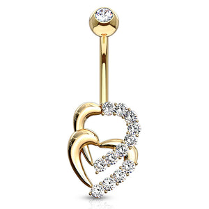 Juno Duo Heart Belly Ring in 14K Gold - Fixed (non-dangle) Belly Bar. Navel Rings Australia.