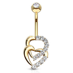 Juno Duo Heart Belly Ring in 14K Gold