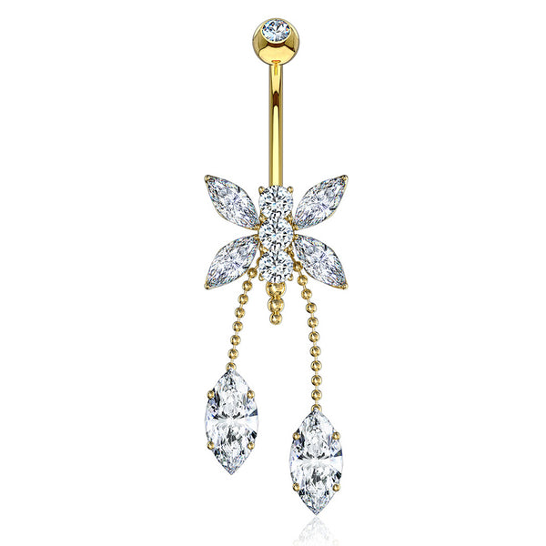 Dragonfly Belly Chandelier in 14K Gold - Dangling Belly Ring. Navel Rings Australia.