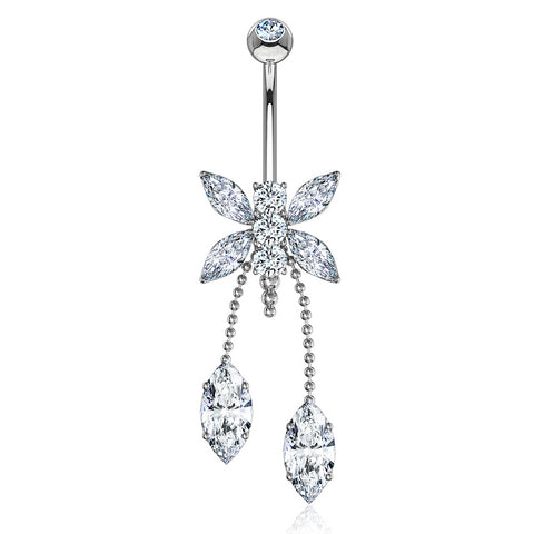 Dangling Belly Ring. Belly Bars Australia. Dragonfly Belly Chandelier in 14K White Gold