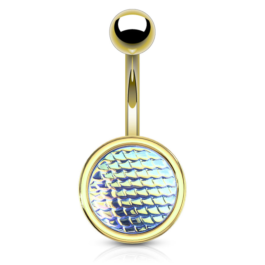 Basic Curved Barbell. Quality Belly Bars. Holographic Dragon Scale Navel Rings in Gold