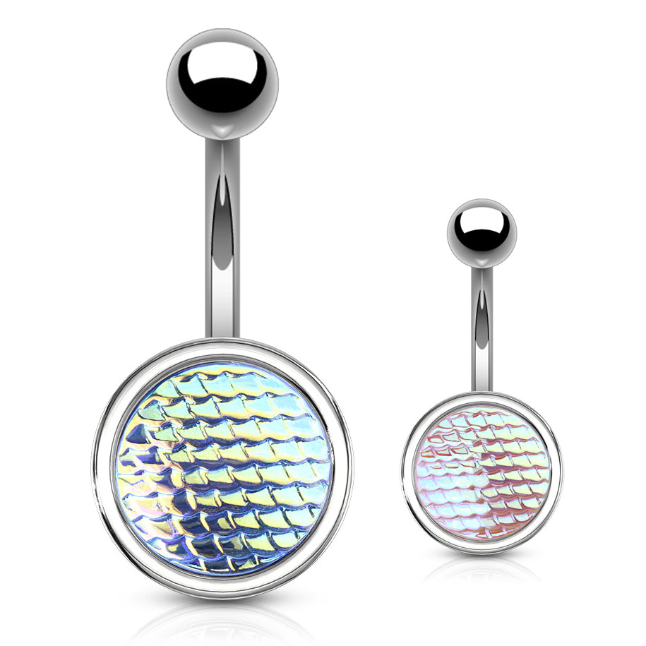 Holographic Dragon Scale Navel Rings - Basic Curved Barbell. Navel Rings Australia.