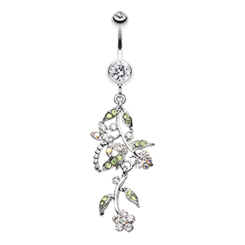 Dangling Belly Ring. Cute Belly Rings. Dragonfly Garden Chandelier Navel Bar