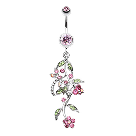 Dragonfly Garden Chandelier Navel Bar - Dangling Belly Ring. Navel Rings Australia.