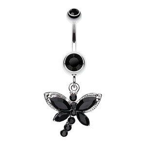Mystique Dragonfly Dangly Belly Bar - Dangling Belly Ring. Navel Rings Australia.