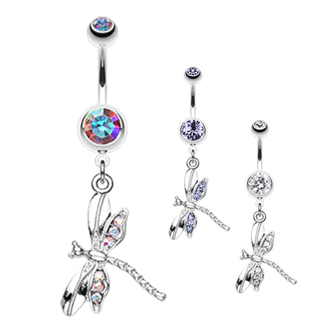Dangling Belly Ring. Belly Bars Australia. Zoom Dragon Fly Belly Ring