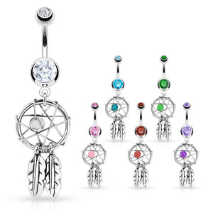 Dreamcatcher Belly Piercing Ring - Dangling Belly Ring. Navel Rings Australia.