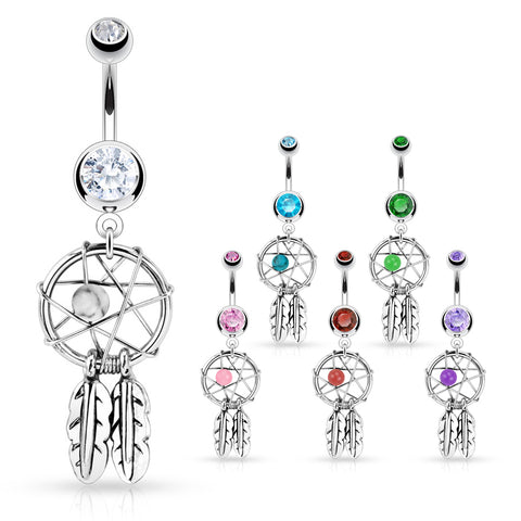 Sunset Crystal Rivoli Gem Belly Piercing Rings