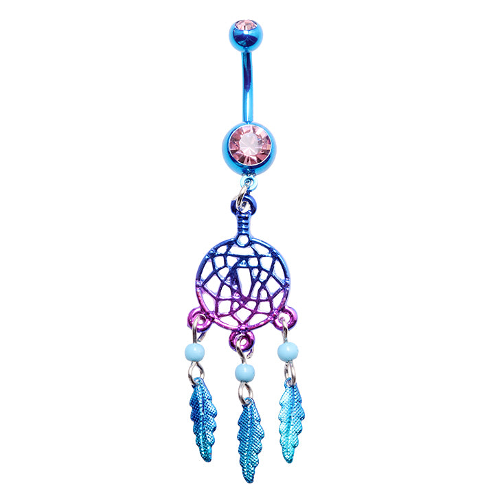 Dream Catcher Belly Button Rings Monochromatic Rainbow Dream Catcher Belly Button Ring Jewellery 32