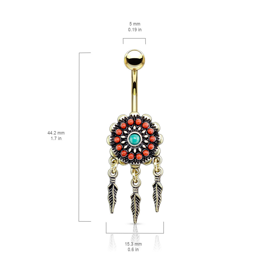 Dangling Belly Ring. Belly Bars Australia. Beaded Nevajo Dream Catcher Belly Ring in Gold